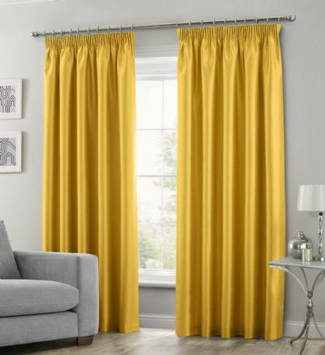 OCHRE MUSTARD COLOUR STYLISH FAUX SILK PENCIL PLEATED FULLY LINED PAIR OF CURTAINS
